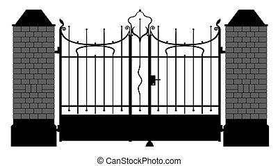 イラスト, の, a, 細工した鉄のゲート
