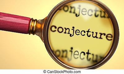 イラスト, より近い一見, 勉強しなさい, 分析, プロセス, 単語, 取得, 3d, 検査しなさい, 拡大しなさい, ...