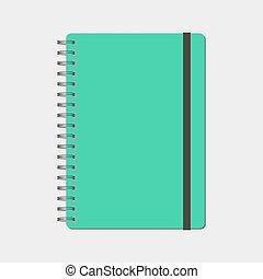 イラスト, アイコン, らせん状に動きなさい, isolated., メモ用紙, ベクトル, ノート