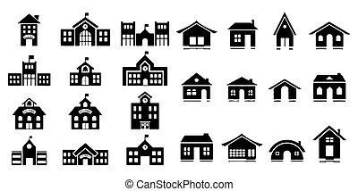 イラスト, アイコン, セット, 家, ベクトル, 背景, 白