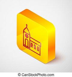 イラスト, アイコン, バックグラウンド。, 建物, キリスト教徒, 灰色, 宗教, 隔離された, 教会, church., 黄色の広場, 等大, button., 線, ベクトル
