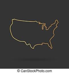 イラスト, アウトライン, ベクトル, 金, 米国, map-