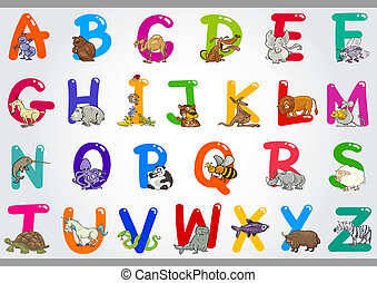 イラスト, アルファベット, 動物, 漫画