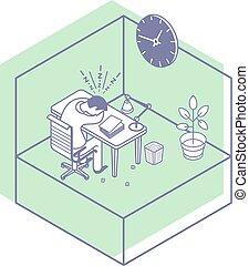 イラスト, オフィス, 机, ベクトル, マネージャー