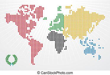 イラスト, オリンピック, 世界のゲーム, 地図