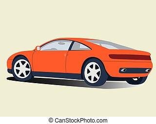 イラスト, オレンジ, 現実的, ベクトル, 自動車, スポーツ, 隔離された