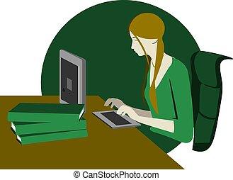 イラスト, カラフルである, コンピュータ, モデル, 女