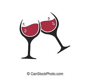 イラスト, ガラス, ベクトル, デザイン, ロゴ, アイコン, ワイン