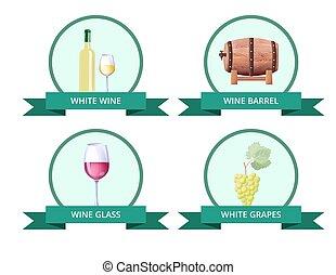 イラスト, ガラス, ベクトル, 白ワイン, 樽