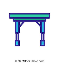 イラスト, キャスター, アウトライン, 折りたたみ式テーブル, ベクトル, アイコン, ポータブル