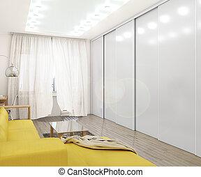 イラスト, キャビネット, doors., 白, 滑っている, 3d