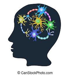 イラスト, コミュニケーション, ニューロン, synapses, neurons., ベクトル, 神経, 隔離された, バックグラウンド。, コミュニケーション, brain.