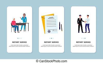 イラスト, サービス, 平ら, セット, ベクトル, notary, 適用, スクリーン, isolated.