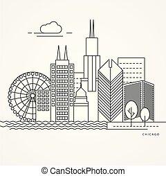 イラスト, シカゴ, us., 線である
