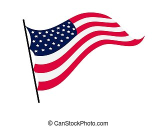 イラスト, シンボル, アメリカ人, 揺れている旗, 国民, 合併した, america., flag., 白い背景, -, 波状, 州, ベクトル