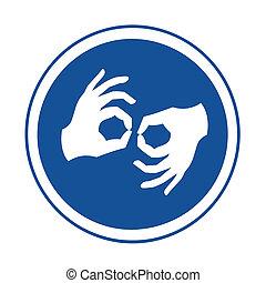 イラスト, シンボル, 手話