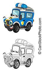 イラスト, スケッチ, -, 警察, 離れて, 現場, 漫画, 自動車, 道