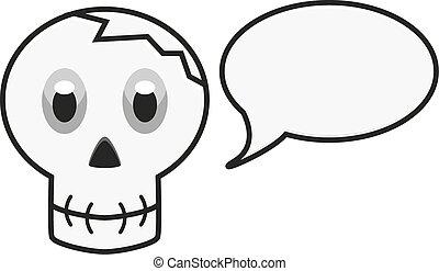 イラスト, スピーチ泡, 隔離された, 頭骨