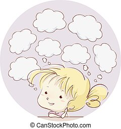 イラスト, スピーチ, 女の子, 泡, 雲, 子供
