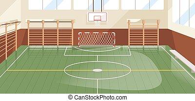 イラスト, スポーツ, 壁, ベクトル, handball., 遊び, 法廷, ジム, サッカー, ∥あるいは∥, フットボール, 平ら, バスケットボール, 有色人種, たが, ホール, 屋内, 内部, 装置, 学校, 装備された, バー。, ゴール