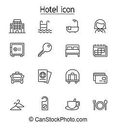 イラスト, セット, スタイル, 薄いライン, グラフィック, ホテル, アイコン, ベクトル, デザイン
