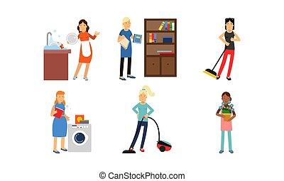 イラスト, セット, ベクトル, 清掃, 特徴, superwomen, 行動, 家, 背景, 隔離された, 白