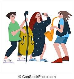 イラスト, ダブル, 声, サクソフォーン, 平ら, ベース, ジャズ, トリオ, バンド, ベクトル, スタイル, performance.