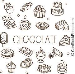 イラスト, チョコレート, 甘いもの, ベクトル, handdrawn, style.