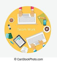 イラスト, チーム, ベクトル, 仕事, 概念, 平ら