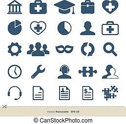 イラスト, テンプレート, デザイン, ベクトル, ロゴ, ビジネス, アイコン, セット