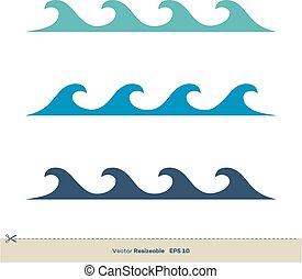 イラスト, テンプレート, 水, デザイン, ベクトル, 波, ロゴ, セット