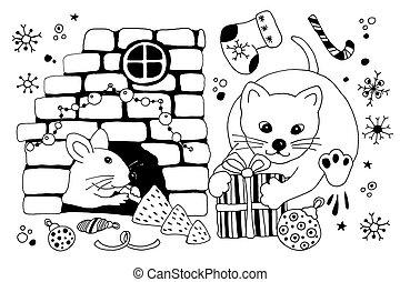 イラスト, デザイン, gifts., クリスマス, マウス, 隠れる, 年, ネズミ, ミンク, products...