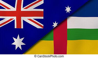 イラスト, ニュース, republic., オーストラリア, reportage, 旗, 中央である, ビジネス, バックグラウンド。, アフリカ, 3d