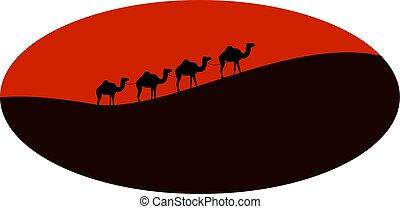 イラスト, バックグラウンド。, ベクトル, ラクダ, 砂漠, 白