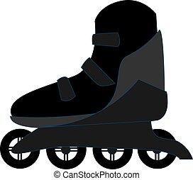 イラスト, バックグラウンド。, ベクトル, 黒, スケート, 白, ローラー