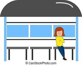 イラスト, バックグラウンド。, 待つこと, ベクトル, バス, 女の子, 白