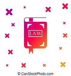 イラスト, バックグラウンド。, book., shapes., 裁判官, 本, 勾配, 判断, 色, ベクトル, アイコン, 法律, 法的, concept., 動的, 隔離された, 白, 任意である