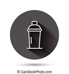 イラスト, バー, 飲みなさい, アイコン, 黒, 影, concept., 長い間, 振りかけ式容器, ビジネス, 平ら, ベクトル, びん, style., effect., カクテル, アルコール, 円, ラウンド, 背景, ボタン