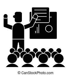 イラスト, プレゼンテーション, -, 隔離された, 印, ベクトル, 黒い背景, アイコン, 講義, ミーティング