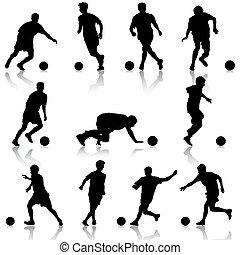 イラスト, プレーヤー, シルエット, ベクトル, サッカー, ball.