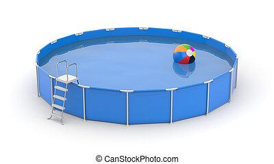 イラスト, プール, 水泳, ラウンド, ball., 3d