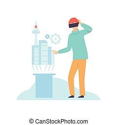 イラスト, ヘッドホン, 技術, 小道具, 現代, 感動的である, バーチャルリアリティ, vr, ベクトル, インターフェイス, 革新的, 使うこと, ガラス, 人