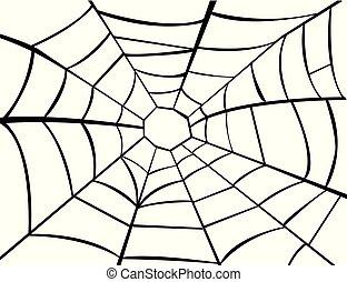 イラスト, ベクトル, クモの巣