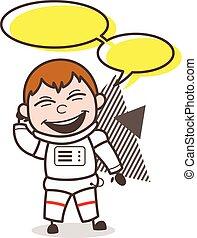 イラスト, ベクトル, スピーチ, 宇宙飛行士, 泡, 漫画