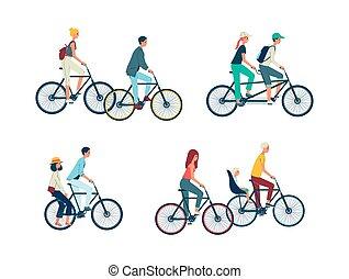 イラスト, ベクトル, セット, 自転車, isolated., 乗馬, 人々, タンデム, 平ら, 自転車