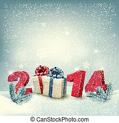 イラスト, ベクトル, デザイン, テンプレート, 年, 新しい, 2014!, 幸せ
