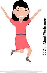 イラスト, ベクトル, 女の子, 漫画, 幸福, 跳躍