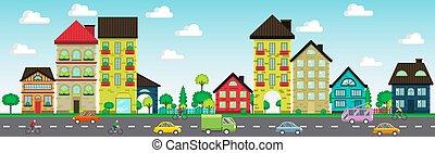 イラスト, ベクトル, 家, 通り, 自動車, サイクリスト, カラフルである