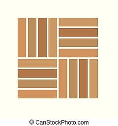 イラスト, -, ベクトル, 寄せ木張りの床, アイコン, 木製の床材