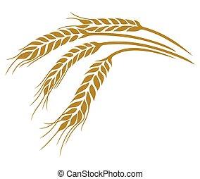 イラスト, ベクトル, 小麦